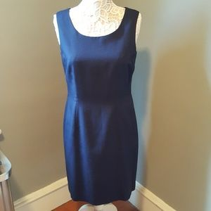 Oleg Cassini Navy Blue Shift Dress with Back Slit